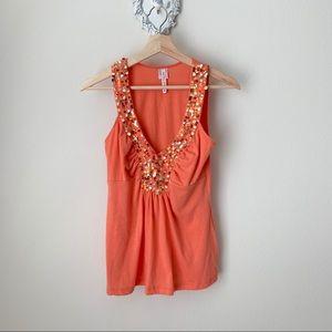 Orange tank with sequins on neckline